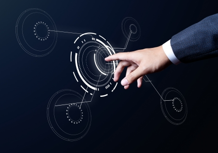 business man hand touch on media circle Stock Photo