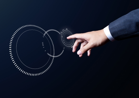 business man hand touch on media circle  Standard-Bild