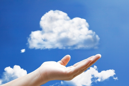 Hand with cloud computing icon photo