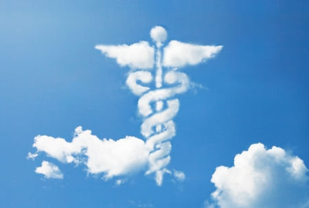 emergencia medica: Caduceo m�dico s�mbolo de forma de la nube