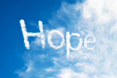 heaven and earth: hope cloud word Stock Photo