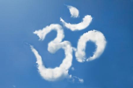 Om sign cloud shape form Standard-Bild