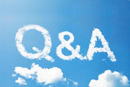 Q&A cloud word Standard-Bild
