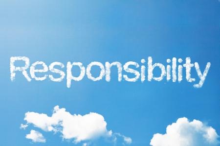 Verantwoordelijkheid een wolk woord op hemel