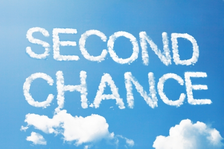 Second chance a cloud  massage on sky Stock Photo