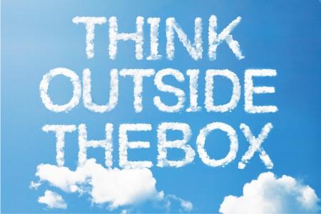 think outside the box  a cloud massage on sky photo