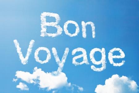 goodbye: Bon voyage a cloud  massage on sky