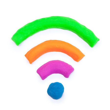 wireless transmission: colorful wifi sign made from toy clay Stock Photo