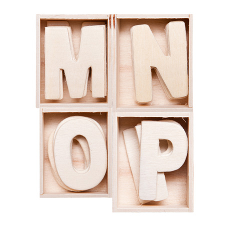 M,N,O,P wood alphabet in block photo