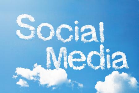 social media marketing: Social media a cloud word on sky Stock Photo