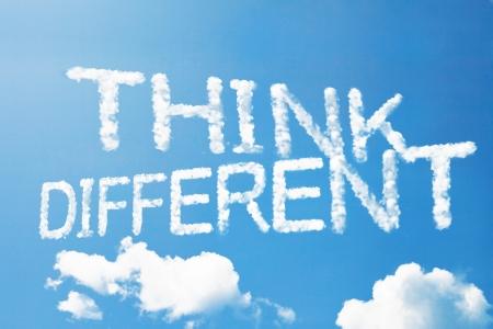 Think different a cloud  massage on sky Standard-Bild