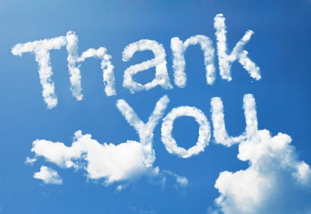 blue you: thank you cloud word Stock Photo