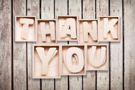 thank you wood alphabet style