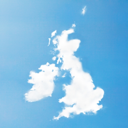 uk map: UK Cloud map Stock Photo