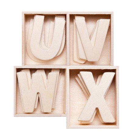 U,V,W,Z wood alphabet in block photo