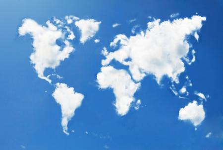 mapa mundo: Mapa del mundo en forma de nubes