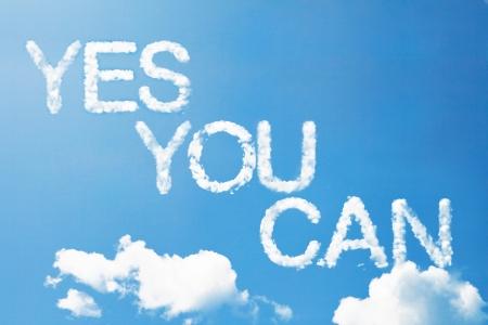 actitud positiva: s� se puede un masaje nube en el cielo Foto de archivo