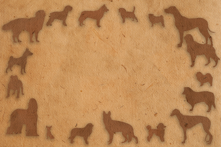 borzoi: frame made of isolate dog in paper texture style