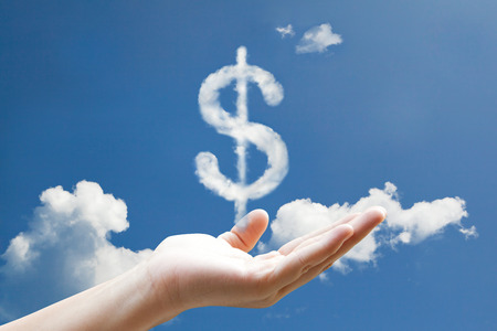 Dolla sign could  on in blue sky photo