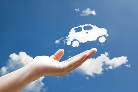 car loans: Cloud car flying from hand  to sky
