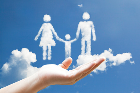 Cloud family sign floating on the palm photo