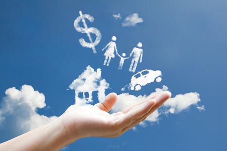 Cloud Responsibility sign hand Foto de archivo