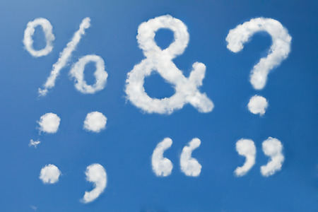 Question mark,Percent sign,Ampersand,Colon,Semicolon,Quotation Marks in clouds form