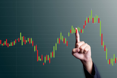 stock market charts: Candlestick chart Stock Photo