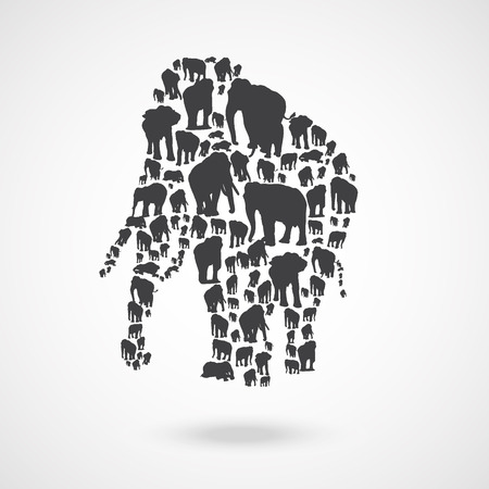 Elephant made of elephant. A vector illustration Illustration