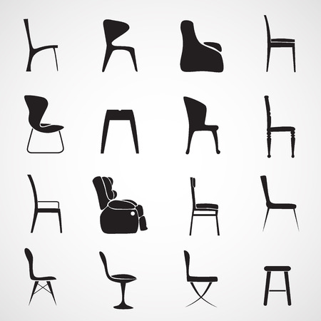 wooden chair: Chair silhouette vectoc Illustration