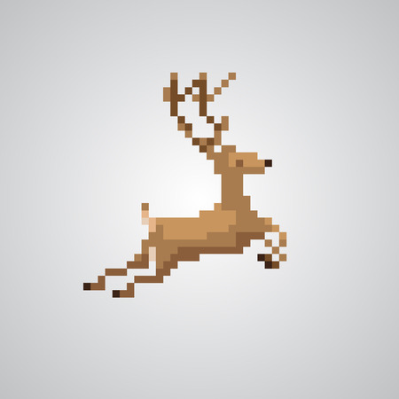 reindeer jumping in 8bit pixel style vector.