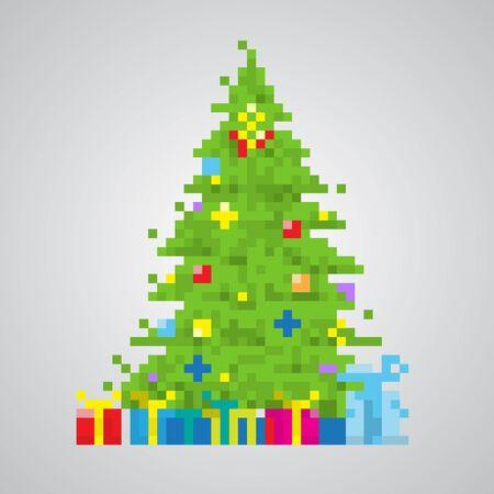 8bit: Albero di Natale 8bit stile pixel vettore