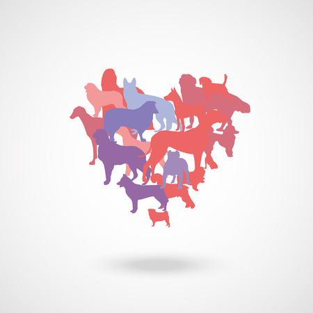sable: heart made from pink purple and blue vector dog
