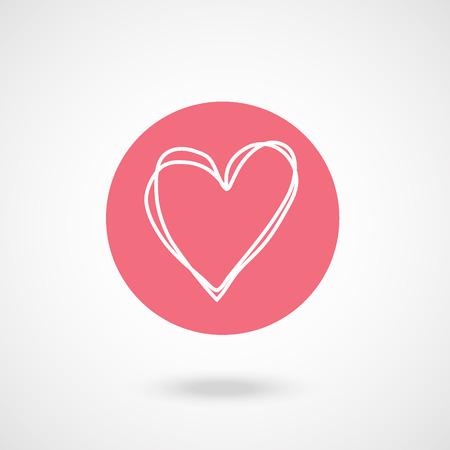 vecter: pink white heart hand draw vecter