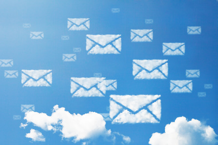web mail: E-mail icon pattern cloud shape.