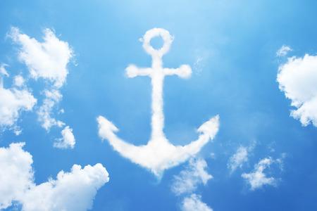 water anchor: Anchor cloud shape on sky.