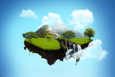 isla flotante en el cielo.