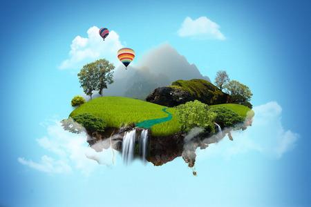 island: Beautiful island floating on sky.