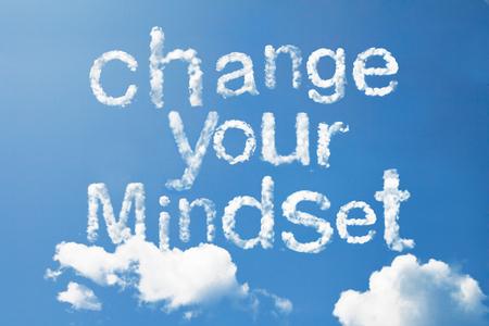 Chang your mindset cloud word on sky Foto de archivo