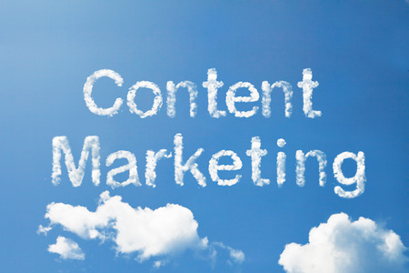 Content marketing cloud word on sky