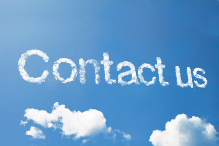 contact: Contact us cloud word on sky Stock Photo
