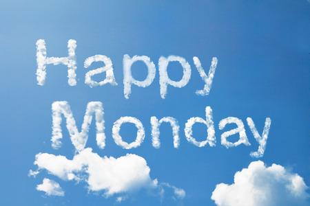 Happy monday cloud word on sky Stock Photo