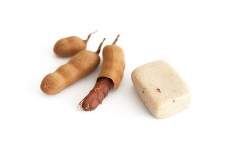 tamarindo: Tammarine soap.Issolate en el fondo blanco Foto de archivo