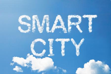 Smart city a cloud word on sky