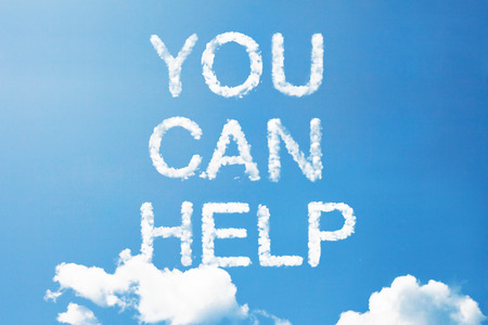 raising cans: you can help a cloud word on sky
