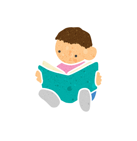 bookish: Illustration of a Boy Reading a Book with beautiful texture. Illustration