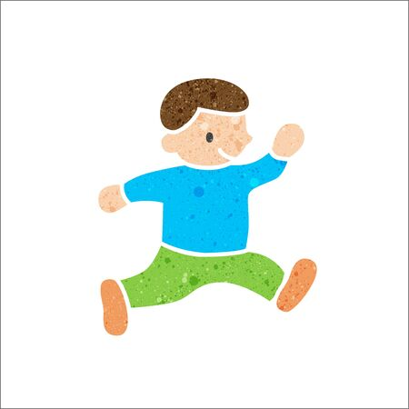 vintage colors: Child running in pattern vintage colors,Vector illustration. Illustration