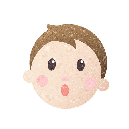 mouth open: boy frightened face with beautiful texture. Illustration