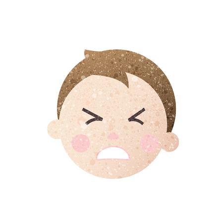 confuse: forec out face boy with texture. Illustration