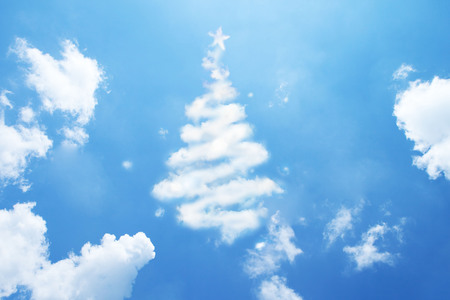 Christmas tree made of clouds